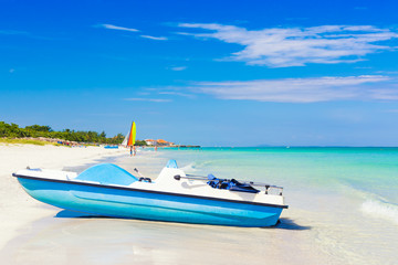 Varadero beach in Cuba with a paddle boat