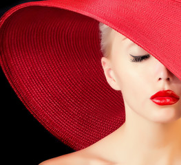 glamour beautiful woman in red hat