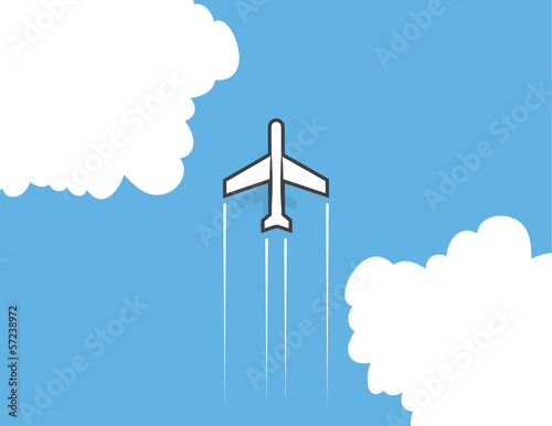 Airplane flying through the clouds