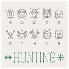 Animal heads icon set (10 pcs)