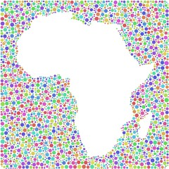 Decorative map of Africa in a mosaic of harlequin bubbles
