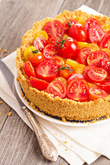 Savoury cheesecake with tomatoes