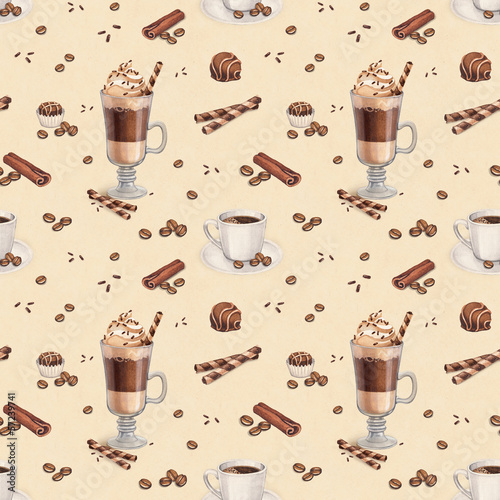 Tapeta ścienna na wymiar Seamless pattern with illustrations of coffee cup and chocolate