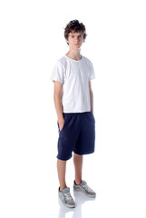 Cute teeange boy standing on white background