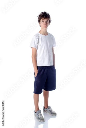 Cute teeange boy standing on white background - 57240163