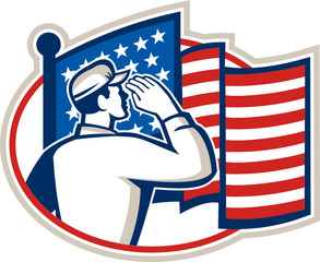 American Soldier Salute Flag Retro