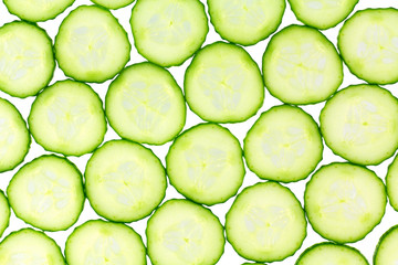 Background of thinly slice cucumbers
