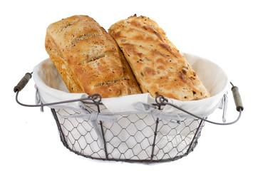 Two bread loaves in basket