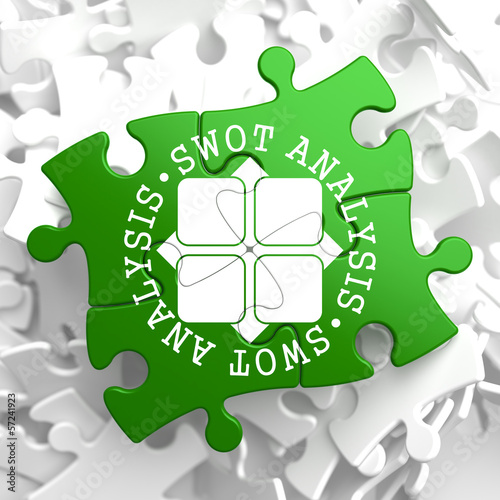 SWOT Analisis on Green Puzzle Pieces.