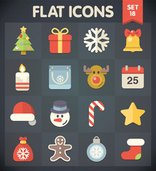 Christmas Universal Flat Icons for Web and Mobile Applications
