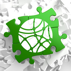Social Network Icon on Green Puzzle.