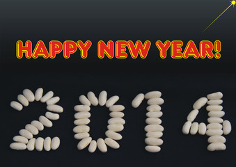 Happy new year greeting for 2014 on black background