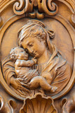 Leuven - Carved relief of Madonna in Sint jan de Doperkerk