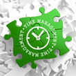 Time Management Concept on Green Puzzle Pieces.