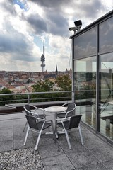 Grill on a roof with Prague panorama