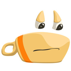 angry cup of coffee with closed mouth