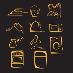 illustration of silhouette home stuff