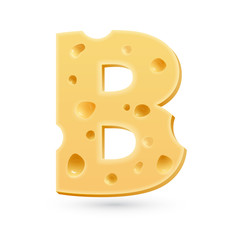 B cheese letter. Symbol isolated on white.