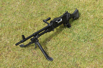 A Vintage British Army Black Machine Gun.