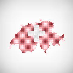 Schweiz Flagge Karte Punkte