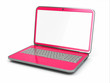 Pink laptop on white isolated background.