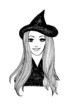 Attractive smiling witch. Halloween vector sketch