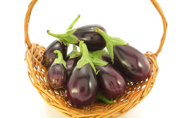 eggplant in wicker basket