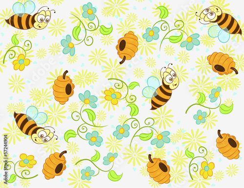 Cute illustration vector of little bee with heart