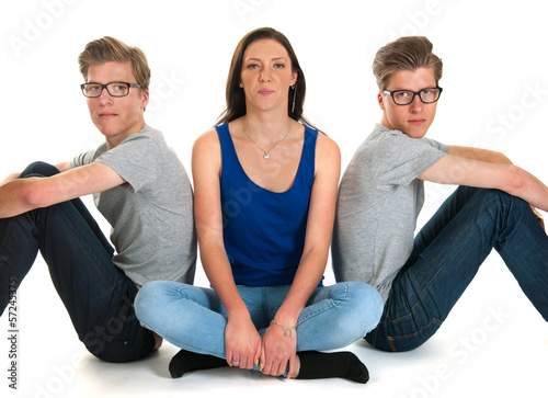 Adult male twins and young girl Poster