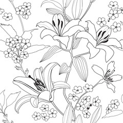 Flowers seamless background. Floral seamless texture