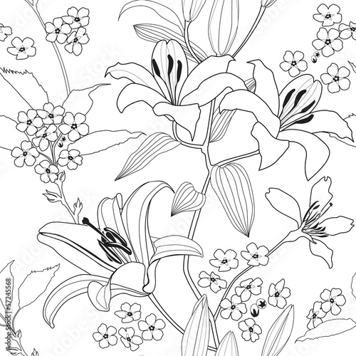 Flowers seamless background. Floral seamless texture © Terriana