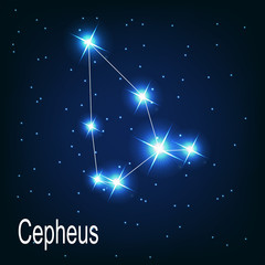 "The constellation ""Cepheus"" star in the night sky. Vector illust"