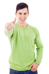 Smiling happy man with thumbs up, isolated over a white backgrou