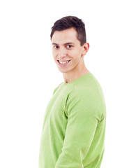 Smiling handsome man standing over a white background