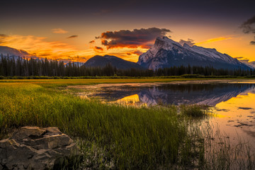 Vermilion Lakes Sunrise near Banff, Canada