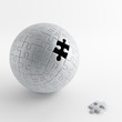 ball of gray puzzle with a hole of pulling out one piece