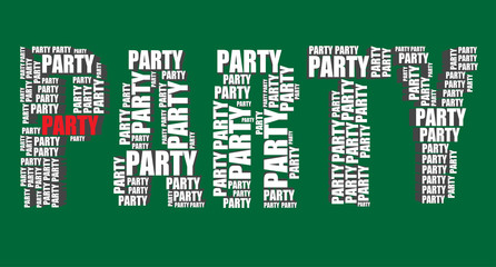 party typography 3d text word party art vector illustration word