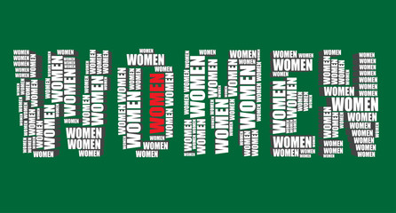 women typography 3d text word women art illustration word cloud