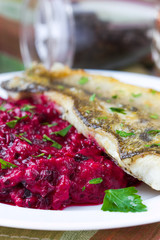Fried fish fillet of perch with mashed beet and potato