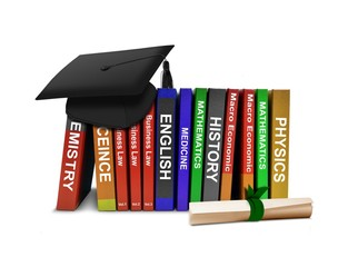 Row Books and Mortarboard with Scroll