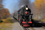 Steam train goes fast. Russian Railways.