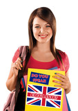 teen girl learning english language