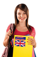 teen girl learning english language