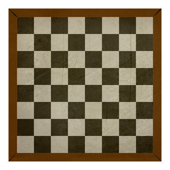 Old wooden grunge chess or draughts board