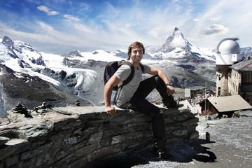 Mountaineer. Mount Matterhorn in the Swiss Alps.