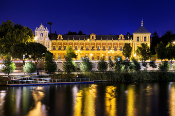 San Telmo palace at night, Sevilla, Spain. Built in 1682.