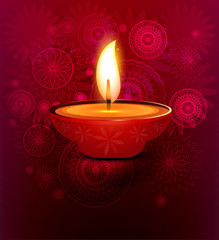 illustration of decorated Diwali diya colorful background