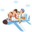 飛行機に乗って家族旅行 - 57249713