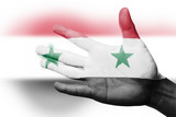 Cheering fan with Painting national Syria flag