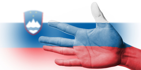 Cheering fan with Painting national Slovenia flag